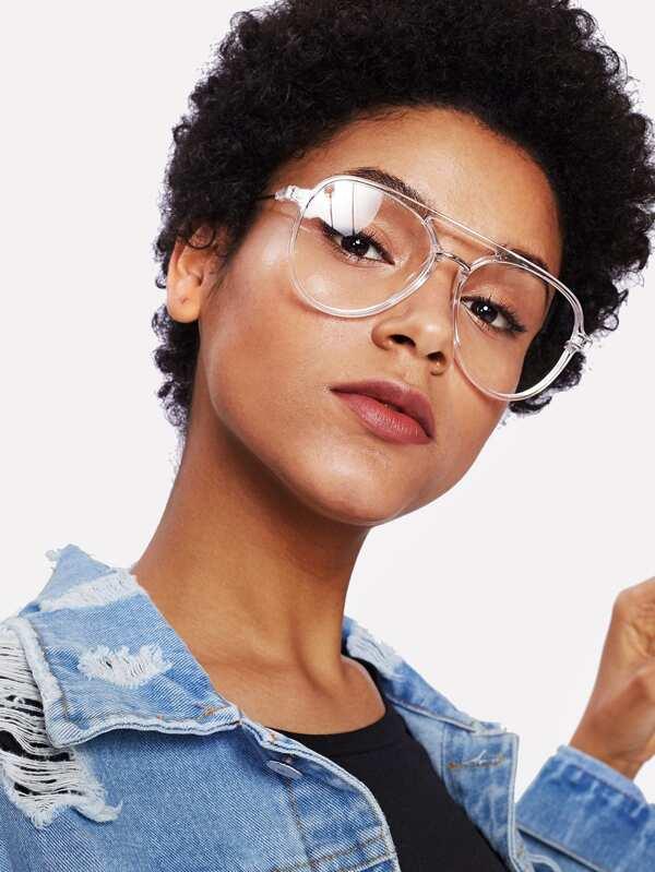 d93764e000d13 Double Bridge Clear Frame Glasses