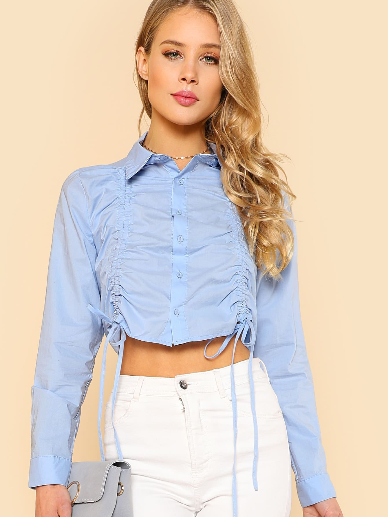 Dual Drawstring Tied Button Up Collared Crop Top BLUE