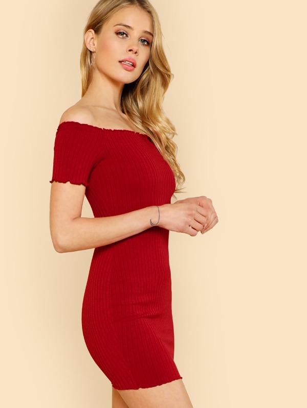 44a3eb734ca358 Lettuce Edge Ribbed Bardot Dress