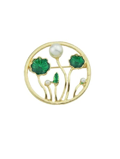 Enamel Simulated-Pearl Lotus Leaf Round Brooch