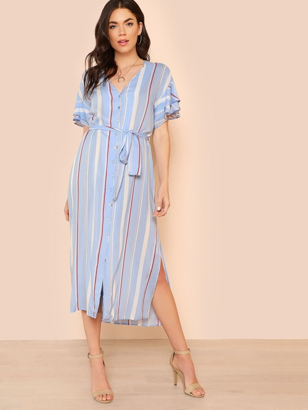 c965f2af970c Button Down Striped Midi Dress with Flounce Sleeves LIGHT BLUE