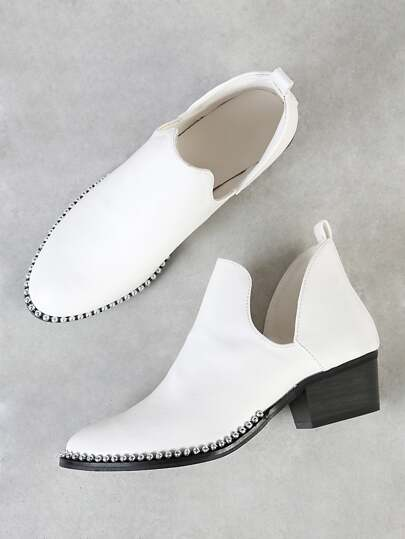 Bead Chain Trim V Cut Ankle Bootie WHITE