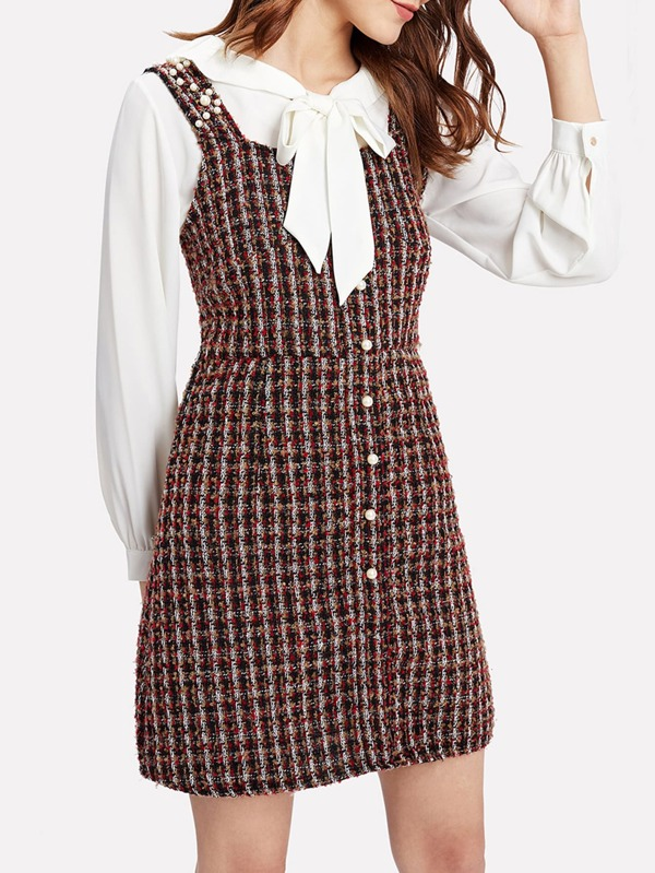 6802e99fa2 Pearl Beading Tweed Overall Dress