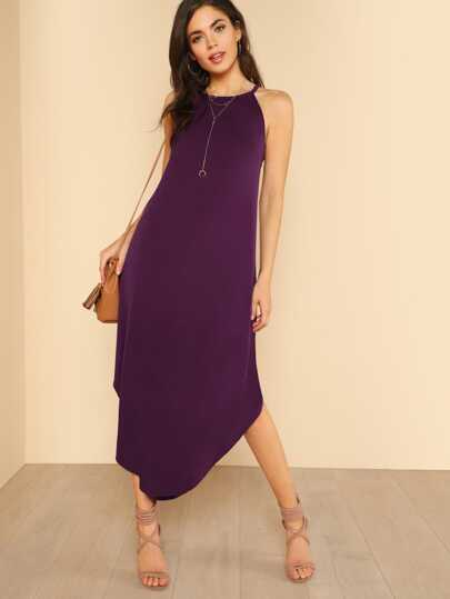 Flowy High Neck Shirt Dress DEEP PURPLE