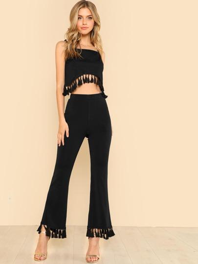 932903585cd Tassel Hem Crop Top   Flare Pants Set