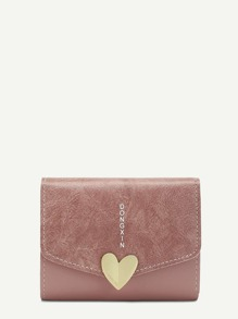 Metal Heart PU Purse