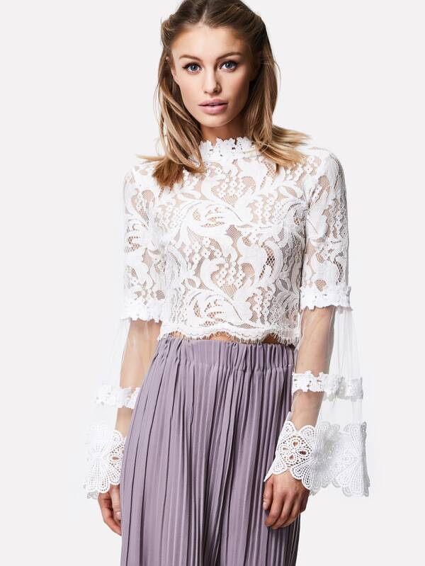 bb5ef423f9 Cheap Mesh Bell Sleeve Lace Crop Top for sale Australia | SHEIN