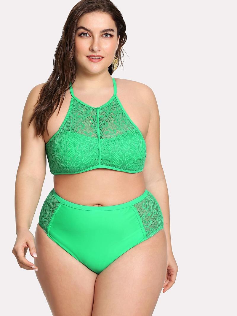 5fa719968853 Set de bikini con encaje de cuello alto de talla grande