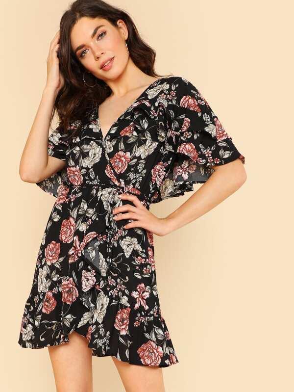 dc81bebc2a8 Cheap Cape Sleeve Surplice Wrap Floral Dress for sale Australia