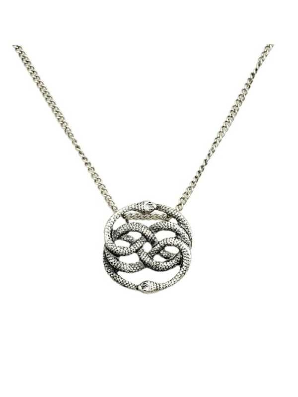 At silver two snake pendant necklace sheinsheinside aloadofball Images