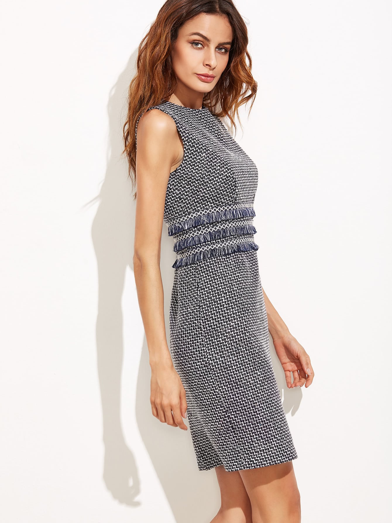 ac7cea1ec5b5a Fringe Seam Tweed Dress | SHEIN