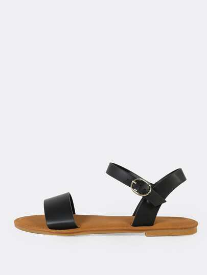 bf78d77e0497 Single Band Ankle Strap Flat Sandal BLACK