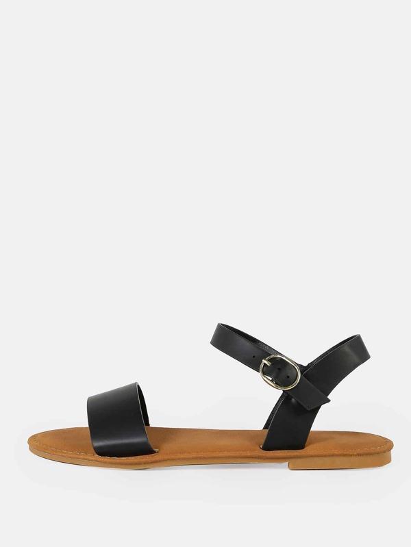 1d4bc51e21d Single Band Ankle Strap Flat Sandal BLACK