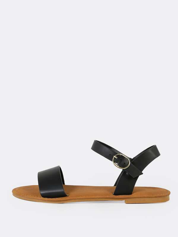 Single Band Ankle Strap Flat Sandal BLACK