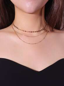 Sequin & Chain Layered Necklace