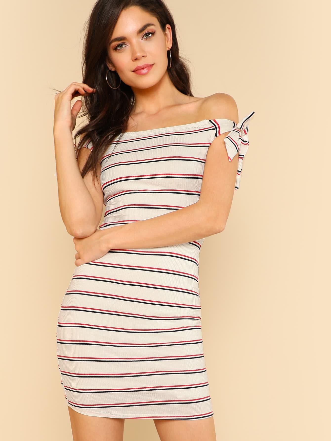 Self Tie Shoulder Strap Stripe Ribbed Knit Dress