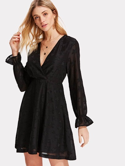 Star Mesh Sleeve Surplice Wrap Dress