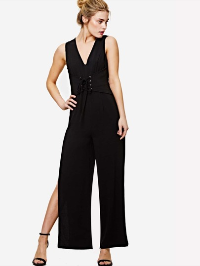 Lace Up Front Slit Leg Jumpsuit