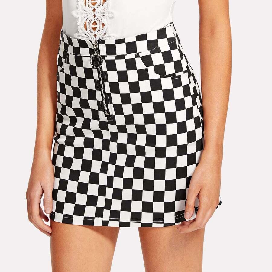 O-Ring Zipper Front Plaid Skirt