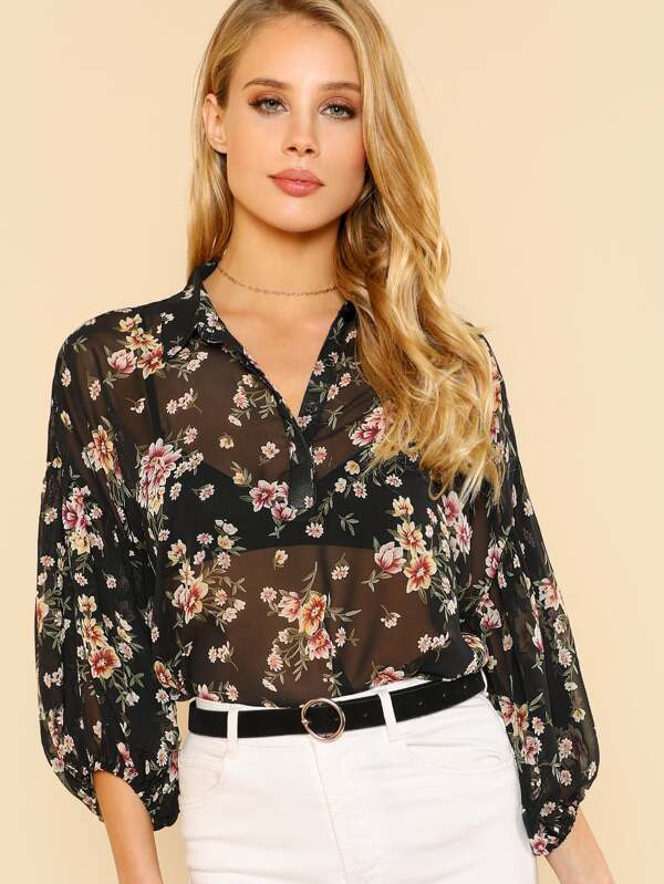ad27aba635ad79 Flower Print Puff Sleeve Chiffon Collared Top BLACK