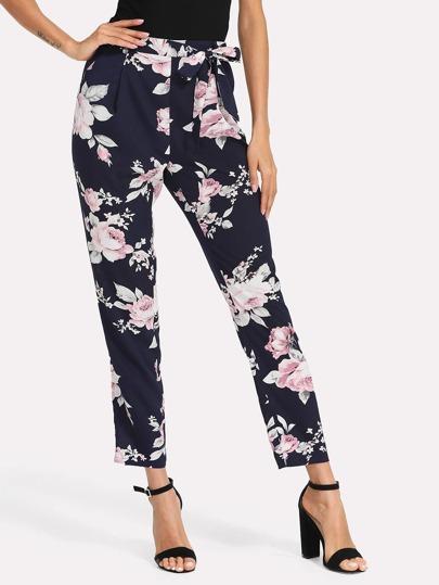 Pantalons imprimé des fleurs avec ceinture