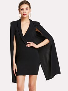 Cloak Sleeve  Surplice Dress