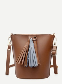 Bucket Shoulder Bag With Tassel