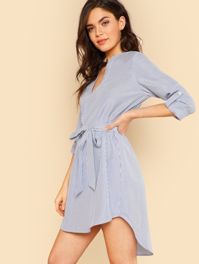 Self Belted Dip Hem Striped Dress