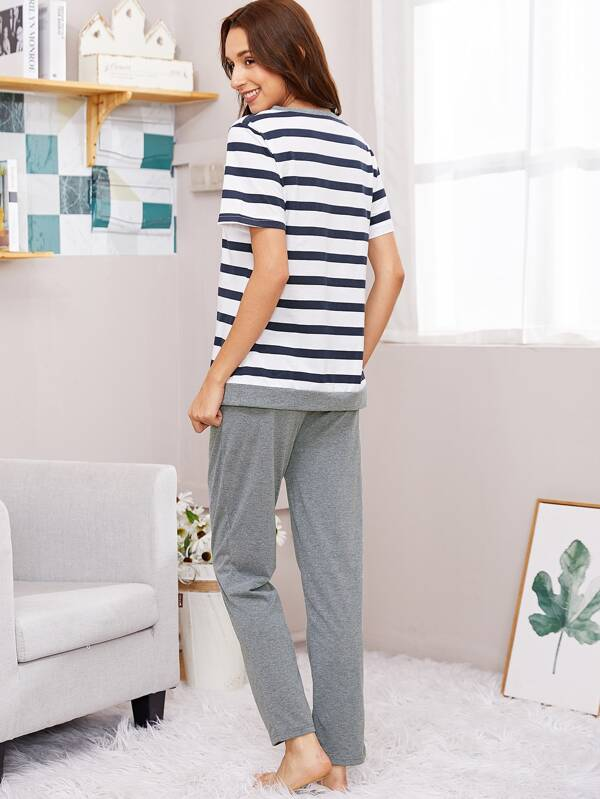 48894d16649d Striped Tee   Pants PJ Set -SHEIN(SHEINSIDE)