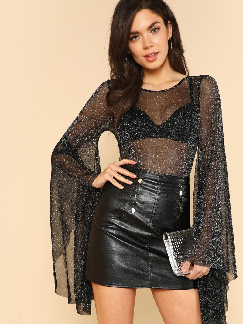 f527ccaf3c5 Exaggerated Bell Sleeve Glitter Mesh Bodysuit