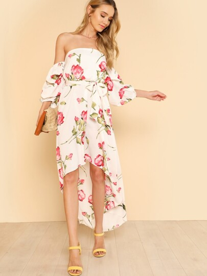 Off Shoulder Puff Sleeve Flower Print High Low Dress IVORY