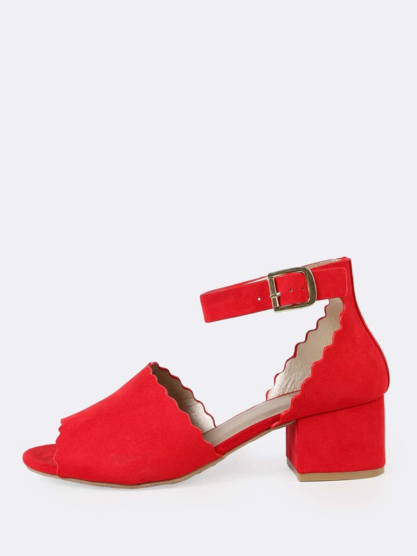 26fd3db31a3f Scalloped Trim Peep Toe Faux Suede Ankle Strap Low Block Heel RED  -SheIn(Sheinside)