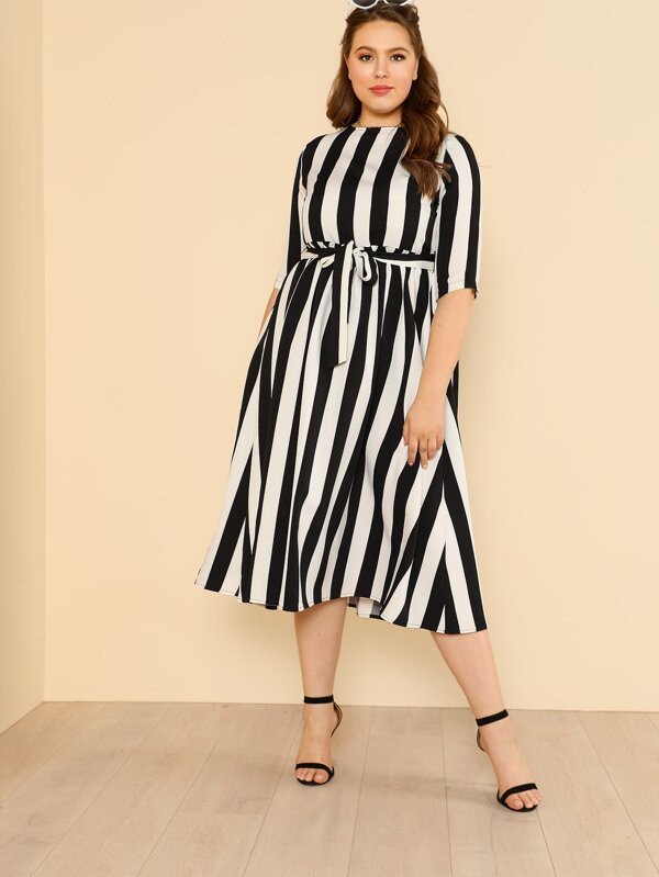 Plus Self Belted Striped Swing Dress