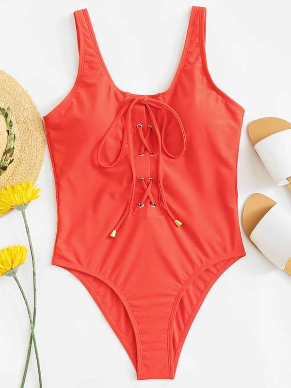 79e8fafc69 Solid Lace Up Front One Piece Swimsuit | SHEIN