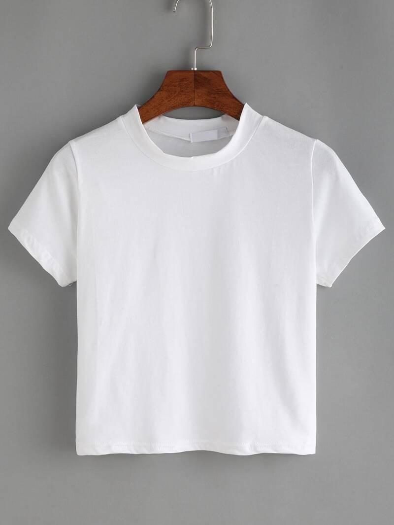 7383a06437db2 T-shirt col rond manche courte -blanc
