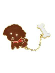 Coffee Enamel Bone Dog Brooch
