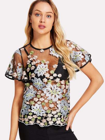 Floral Embroidered Flutter Sleeve Sheer Mesh Top Without Bra Shein