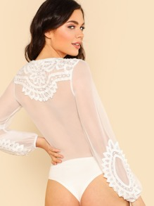 e7f3d311eb Embroidered Mesh Lace Up Body Suit WHITE | SHEIN