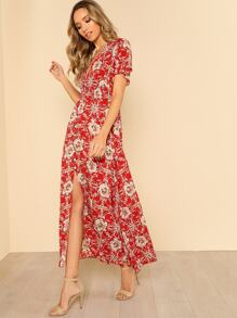 Button Up Shirred Waist Floral Maxi Dress