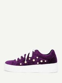 Faux Pearl Lace Up Velvet Sneakers