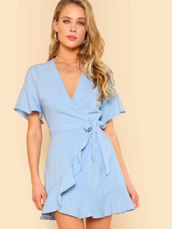 dadcb5a5538e Cheap Deep V Ruffle Hem Short Sleeve Wrap Dress BLUE for sale Australia