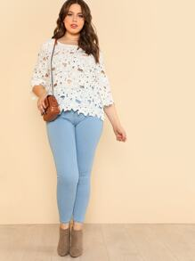 Plus Cut Out Floral Lace Top