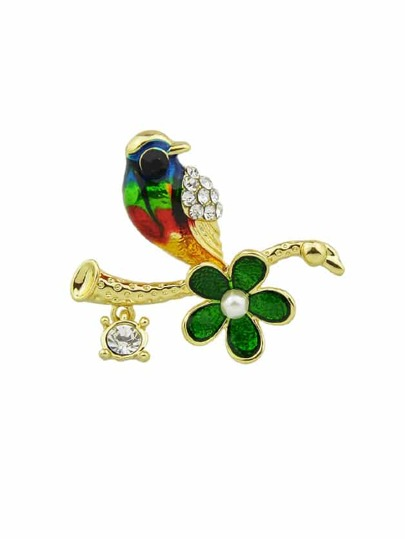 Bird Enamel Brooch
