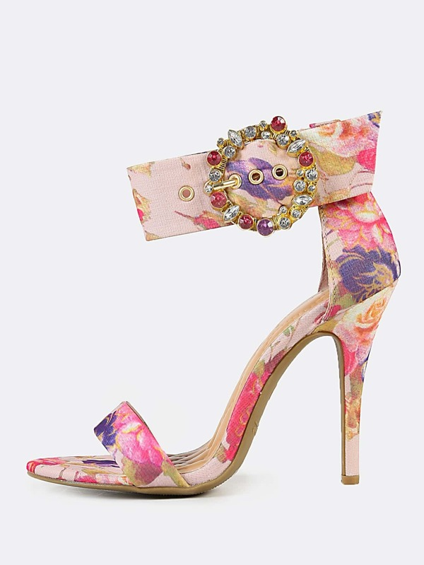 4ebc04c0cbb Jeweled Buckle Ankle Strap Floral Print Single Band Stiletto Heel BLUSH  MULTI