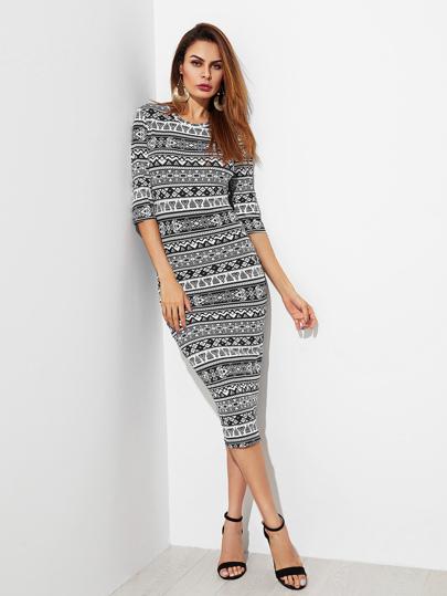 93c2c984f23b7 Tribal Print Form Fitting Dress