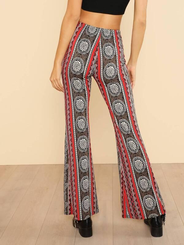 Pantalons bord évasé imprimé tribal -French SheIn(Sheinside) 49665898419