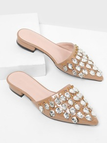 Rhinestone Decorated PU Flats