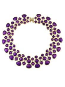 Purple Enamel Maxi Collar Choker Necklaces