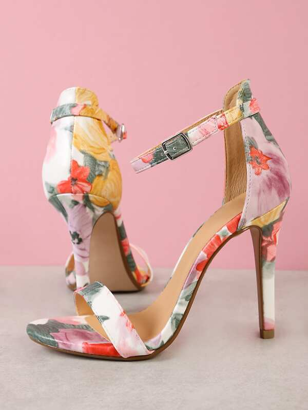 19c8dd61a Floral Print Single Band Stiletto Heel PINK YELLOW