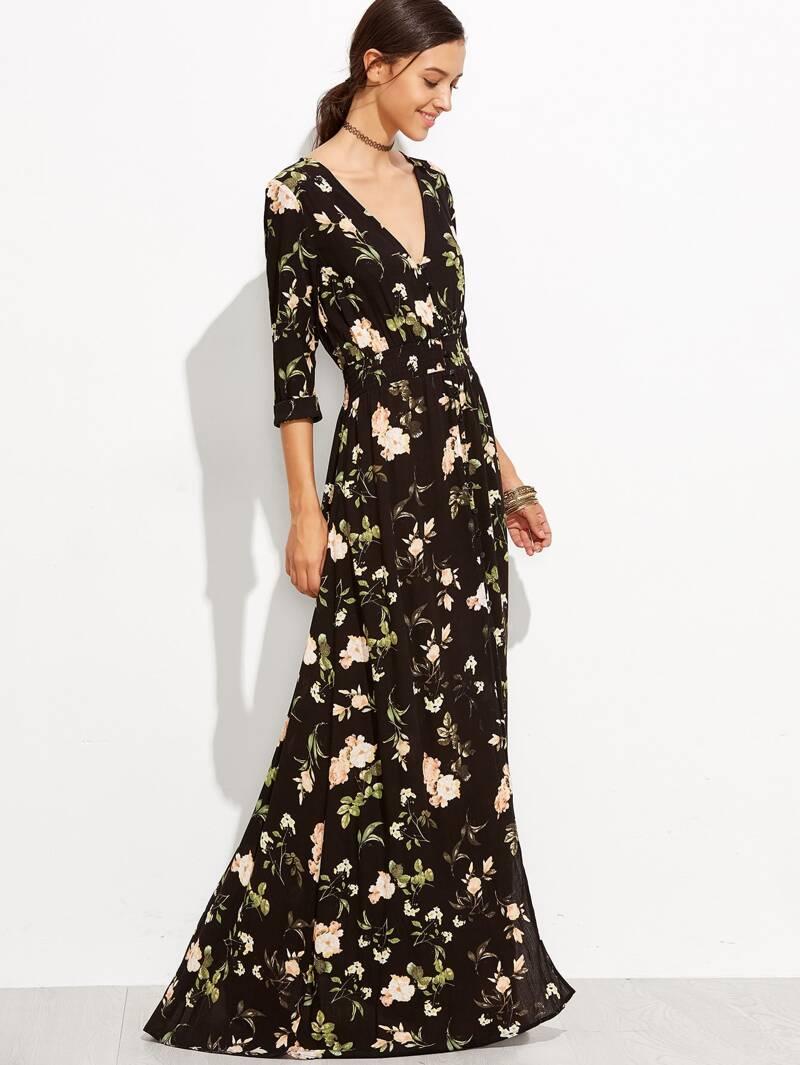 c3f5ce60 Vestido largo de flores con botones | ROMWE